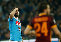 Napoli's Gonzalo Higuain  reacts  during the  italian serie a soccer match,between SSC Napoli and AS Roma       at  the San  Paolo   stadium in Naples  Italy ,December 13, 2015