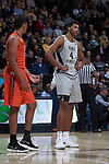 Doral Moore (4) of the Wake Forest Demon Deacons during first half action against the Virginia Tech Hokies at the LJVM Coliseum on January 10, 2018 in Winston-Salem, North Carolina.  The Hokies defeated the Demon Deacons 83-75.  (Brian Westerholt/Sports On Film)
