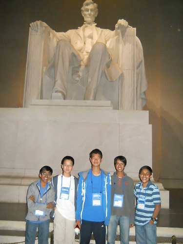 The Harker School - MS - Middle School - MS Science Bowl team, Arjun. S, Rajiv. M, Edgar. L, Venkat. S and David. Z., in Washington, DC for the National Science Bowl competition - Photo by Vandana Kadam