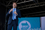Richard Tice speaking on stage at a Brexit Party event in Chester, Cheshire. The keynote speech was given by the Brexit Party leader Nigel Farage MEP who appeared alongside former Conservative government minister Ann Widdecombe. The event was attended by around 300 people and was one of the first since the formation of the Brexit Party by Nigel Farage in Spring 2019.