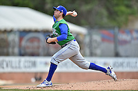 Lexington Legends pitcher Kevin McCarthy (15) delivers a pitch during a game against the Asheville Tourists on May 3, 2015 in Asheville, North Carolina. The Legends defeated the Tourists 6-3. (Tony Farlow/Four Seam Images)