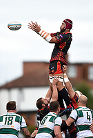 Brandon Nansen of the Dragons rises high to win lineout ball. Pre-season friendly match, between Ealing Trailfinders and the Dragons on August 11, 2018 at the Trailfinders Sports Ground in London, England. Photo by: Patrick Khachfe / Onside Images