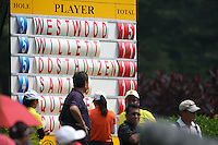 Scoreboard showing Lee Westwood (ENG) creeping ahead during the Final Round of the 2014 Maybank Malaysian Open at the Kuala Lumpur Golf & Country Club, Kuala Lumpur, Malaysia. Picture:  David Lloyd / www.golffile.ie
