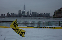 The New York skyline it's seen from Jersey City as winter storm hits the tri-state area causing significant delays at airports in the region. Last month was coldest February in New York City since 1869. Mar 01,2015. Kena Betancurt/VIEWpress.