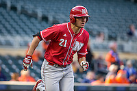 Ryan Boldt (21) of the Nebraska Cornhuskers runs during the 2015 Big Ten Conference Tournament between the Illinois Fighting Illini and Nebraska Cornhuskers at Target Field on May 20, 2015 in Minneapolis, Minnesota. (Brace Hemmelgarn/Four Seam Images)