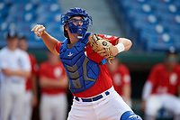 Ian Daugherty (18) of Kingfisher High School in Kingfisher, OK during the Perfect Game National Showcase at Hoover Metropolitan Stadium on June 19, 2020 in Hoover, Alabama. (Mike Janes/Four Seam Images)
