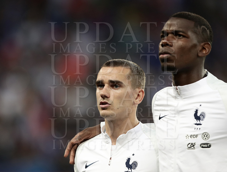 International friendly football match France vs Italy, Allianz Riviera, Nice, France, June 1, 2018. <br /> France's Antoine Griezmann (l) and Paul Pogba (r) sing the France national anthem prior to the international friendly football match between France and Italy at the Allianz Riviera in Nice on June 1, 2018.<br /> UPDATE IMAGES PRESS/Isabella Bonotto