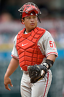 Philadelphia Phillies catcher Carlos Ruiz against the Houston Astros on Sunday April 11th, 2010 at Minute Maid Park in Houston, Texas.  (Photo by Andrew Woolley / Four Seam Images)