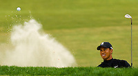PGA golfer Tiger Woods hits from a sand trap during the 2007 Wachovia Championships at Quail Hollow Country Club in Charlotte, NC.