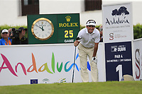 Gonzalo Fernandez-Castano (ESP) tees off the 1st tee during Sunday's storm delayed Final Round 3 of the Andalucia Valderrama Masters 2018 hosted by the Sergio Foundation, held at Real Golf de Valderrama, Sotogrande, San Roque, Spain. 21st October 2018.<br /> Picture: Eoin Clarke | Golffile<br /> <br /> <br /> All photos usage must carry mandatory copyright credit (&copy; Golffile | Eoin Clarke)