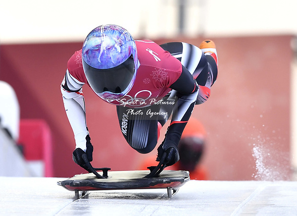 Mirela Rahneva (CAN). Skeleton training. Alpensia sliding centrePyeongchang2018 winter Olympics. Alpensia. Republic of Korea. 13/02/2018. ~ MANDATORY CREDIT Garry Bowden/SIPPA - NO UNAUTHORISED USE - +44 7837 394578