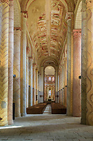 France, Vienne, Saint-Savin-sur-Gartempe, Saint Savin abbey church listed as World Heritage by UNESCO, columns decorated with trompe l'oeil marble and the vault murals paintings in the nave // France, Vienne (86), Saint-Savin-sur-Gartempe, église abbatiale de Saint-Savin-sur-Gartempe classée Patrimoine Mondial de l'UNESCO, colonnes ornées de marbre en trompe-l'oeil et peintures murales de la voûte dans la nef
