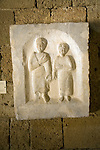 Grave stele male and female figures from Nisyros Archaeological museum, Rhodes, Greece