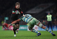 England's Elliot Daly is tackled by Argentina's Tomas Lavanini<br /> <br /> Photographer Rachel Holborn/CameraSport<br /> <br /> International Rugby Union Friendly - Old Mutual Wealth Series Autumn Internationals 2017 - England v Argentina - Saturday 11th November 2017 - Twickenham Stadium - London<br /> <br /> World Copyright &copy; 2017 CameraSport. All rights reserved. 43 Linden Ave. Countesthorpe. Leicester. England. LE8 5PG - Tel: +44 (0) 116 277 4147 - admin@camerasport.com - www.camerasport.com