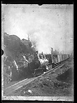 Frederick Stone negative. RR NY and NE train at Seary Place West Main Street 1894 OR 1889. <br />See envelope to distinguish.