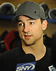 Neal Pionk of the New York Rangers speaks with the media in the locker room of Madison Square Garden Training Center in Greenburgh, NY on Tuesday, April 10, 2018.