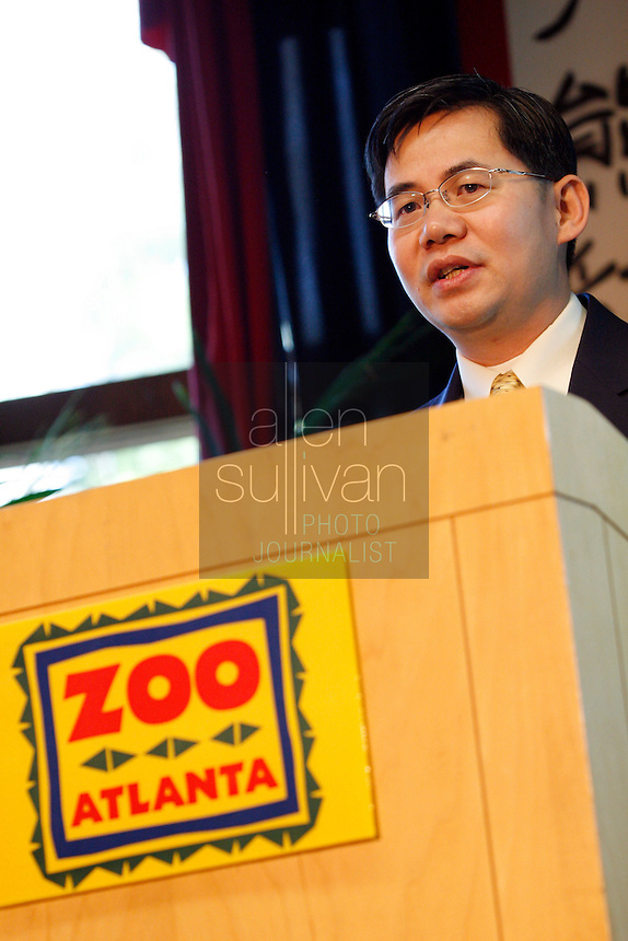 Chinese Embassy Deputy Chief of Mission Minister Zheng Zeguang speaks during a ceremony to announce the name of Zoo Atlanta?s giant panda cub. ?Mei Lan,? which translates to ?Atlanta Beauty? won in an online poll, receiving 22% of the 57,015 votes cast. Voters were given a list of 10 names from which to choose. The names were suggested by several institutions interested in panda conservation including local media, Zoo Atlanta staff and volunteers, Panda Express (a Zoo Atlanta sponsor) and the people of China.<br />