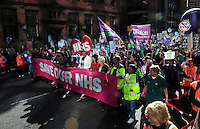 Save the NHS demonstration called by the TUC to concede with the start of of the Conservative party conference<br /> Manchester<br /> England