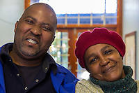 South Africa, Cape Town., Nyanga Township.  South African Couple.
