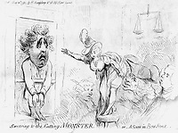 BNPS.co.uk (01202 558833)<br /> Pic: JanBondeson/BNPS<br /> <br /> One of the wounded ladies reveals all to the magistrates at Bow Street, with Sir Sampson Wright taking a closer look. <br /> <br /> A historian has shed new light on a little-known predator who terrorised London's streets a century before Jack the Ripper.<br /> <br /> The despicable culprit - dubbed The Monster - targeted well dressed young women by stabbing them in the thigh or buttocks.<br /> <br /> His reign of terror lasted for the first half of 1790, with him clocking up six victims on a single day. Other women were kicked from behind with spikes fastened to his knees, while some were stabbed in the nose by a spike hidden in a bouquet they were invited to smell.<br /> <br /> By the time The Monster was finally apprehended, his tally of traumatised victims was over 50. He was unmasked as disgraced Welsh ballet dancer Rhynwick Williams, who was kicked out of the theatre after committing theft and descended into the capital's seedy underworld.<br /> <br /> Historian Dr Jan Bondeson has written about him in his book 'The London Monster: Terror on the Streets', and also contributed to an upcoming film on the sinister episode.
