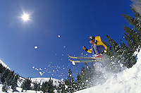 Man, Men, Scenic, Active Lifestyle, Winter, Sports, Exercise, Vacation, Skiing, Snow, Catching Air, Extreme, Trees, Vacation, Action, Skier. Rob Ruhl (MR 659). Backcountry Colorado United States Rocky Mountains, Summit County, Expert, Runs, Peak 10, Breck