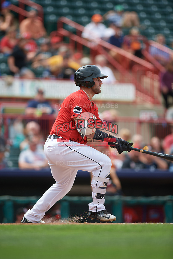 Erie SeaWolves first baseman Wade Hinkle (43) follows through on a swing during a game against the Hartford Yard Goats on August 6, 2017 at UPMC Park in Erie, Pennsylvania.  Erie defeated Hartford 9-5.  (Mike Janes/Four Seam Images)