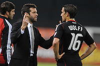 DC United Head Coach Ben Olsen gives instructions to forward Josh Wolff (16)   DC United tied The Colorado Rapids 1-1, at RFK Stadium, Saturday  May 14, 2011.
