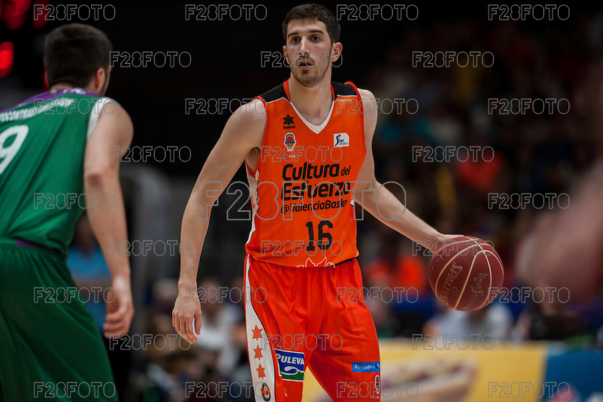 VALENCIA, SPAIN - MARCH 27: Guillem Vives during ENDESA LEAGUE Play Off match between Valencia Basket Club and Unicaja at Fonteta Stadium on March, 2016 in Valencia, Spain