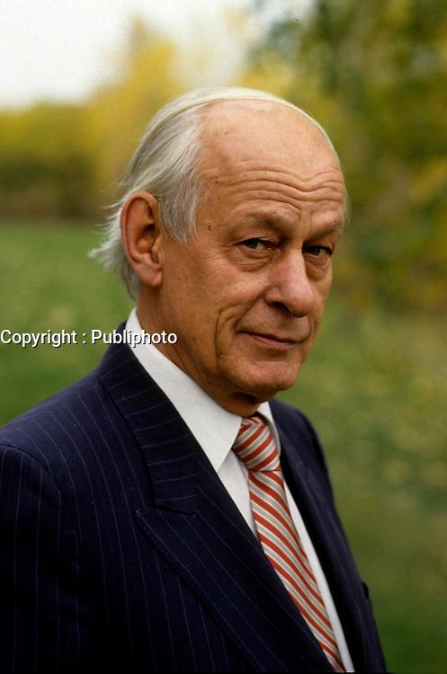 EXCLUSIVE FILE PHOTO - Former Quebec Premier Rene Levesque last photoshot on October 1987, one week prior to his death (November 1, 1987).<br /> <br /> MANDATORY CREDIT <br /> PHOTO : Jean-Pierre Karsenty - Publiphoto - Agence Quebec Presse