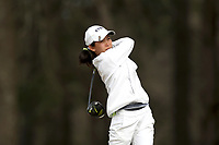 WALLACE, NC - MARCH 09: Warda Amira Rawof of East Tennessee State University tees off on the 15th hole of the River Course at River Landing Country Club on March 09, 2020 in Wallace, North Carolina.