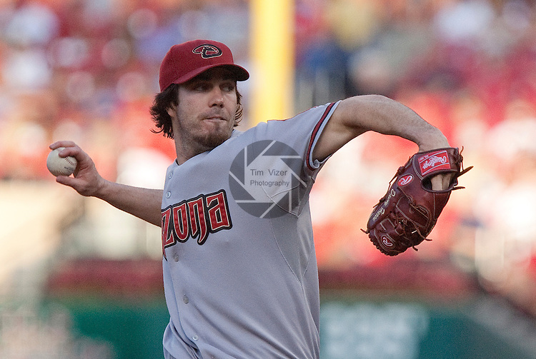 June 28, 2010    Arizona Diamondbacks starting pitcher Dan Haren (15) throws early in the game.  The St. Louis Cardinals hosted the Arizona Diamondbacks in the first game of a three-game homestand at Busch Stadium in downtown St. Louis, MO on Monday June 28, 2010.