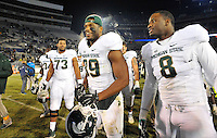 29 November 2014:  Michigan State DE Shilique Calhoun (89) and NT Lawrence Thomas (8) celebrate after the game. The Michigan State Spartans defeated the Penn State Nittany Lions 34-10 at Beaver Stadium in State College, PA.