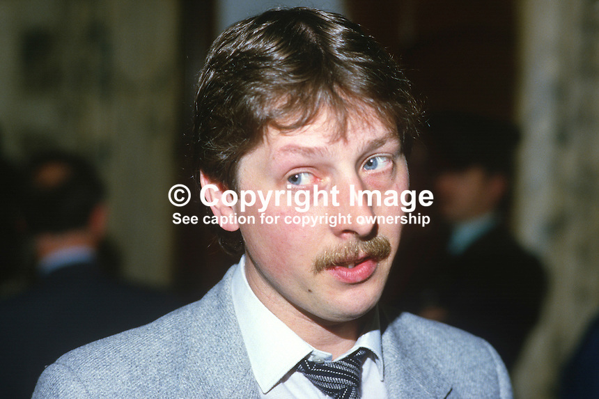 Sammy Wilson, councillor, Democratic Unionist, Belfast, N Ireland, 19850508SW1..Copyright Image from Victor Patterson, 54 Dorchester Park, Belfast, UK, BT9 6RJ..Tel: +44 28 9066 1296.Mob: +44 7802 353836.Voicemail +44 20 8816 7153.Skype: victorpattersonbelfast.Email: victorpatterson@me.com.Email: victorpatterson@ireland.com (back-up)..IMPORTANT: If you wish to use this image or any other of my images please go to www.victorpatterson.com and click on the Terms & Conditions. Then contact me by email or phone with the reference number(s) of the image(s) concerned.