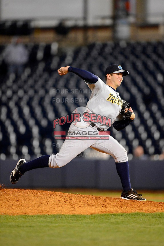 Trenton Thunder pitcher Graham Stoneburner #37 during a game against the Akron Aeros on April 22, 2013 at Canal Park in Akron, Ohio.  Trenton defeated Akron 13-8.  (Mike Janes/Four Seam Images)