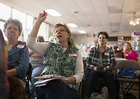 NWA Democrat-Gazette/CHARLIE KAIJO Velina Straw of Rogers asks a question during a sewing and embroidery lesson, Friday, March 16, 2018 at the Rogers Sewing Center in Rogers. <br /><br />The Oklahoma Embroidery Supply &amp; Design hosted an informational class where participants learned about embroidery tips and techniques. About 40 people attended the day's event. The event will continue on Saturday from 10-4pm