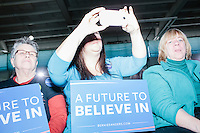Supporters listen as Vermont senator and Democratic presidential candidate Bernie Sanders speaks to senior citizens at the Peterborough Community Center gymnasium in Peterborough, New Hampshire.