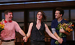 David Josefsberg, Sara Bareilles and Jason Mraz take a bow at the curtain call of Broadway's 'Waitress' at The Brooks Atkinson Theatre on November 3, 2017 in New York City.