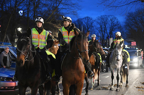 March 22nd 2017, Dortmund, Germany;  Police officers on horseback ride by the stadium before the international match between Germany and England in Dortmund, Germany, 22 March 2017. According to the police, a double attack at Westminster has left four dead in its wake, among them the perpetrator. At least twenty others were injured.