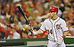 20 September 2012: Washington Nationals rookie outfielder Bryce Harper stands on deck during a game against the Los Angeles Dodgers at Nationals Park in Washington, DC. The Nationals defeated the Dodgers 4-1, clinching a playoff birth: the first time for a Washington franchise since 1933. Mandatory Credit: Ed Wolfstein Photo