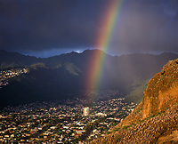 Rainbow over Honolulu, Oahu, Hawaii, USA.
