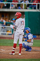 Jo Adell (13) of the Orem Owlz bats against the Ogden Raptors at Home of the Owlz on September 11, 2017 in Orem, Utah. Ogden defeated Orem 7-3 to win the South Division Championship. (Stephen Smith/Four Seam Images)