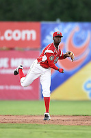 Batavia Muckdogs shortstop Javier Lopez (22) throws to first during a game against the Lowell Spinners on July 16, 2014 at Dwyer Stadium in Batavia, New York.  Lowell defeated Batavia 6-4.  (Mike Janes/Four Seam Images)