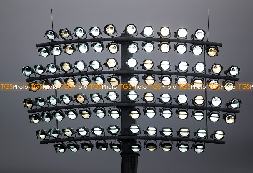 Floodlights on at Lords during Middlesex CCC vs Lancashire CCC, Specsavers County Championship Division 2 Cricket at Lord's Cricket Ground on 13th April 2019