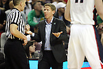 Gonzaga Head Coach Mark Few complains to an official about a foul during their game against Iowa during the 2015 NCAA Division I Men's Basketball Championship's March 22, 2015 at the Key Arena in Seattle, Washington. #2 Gonzaga beat #7 Iowa 87-68 to advance to the Sweet 16.