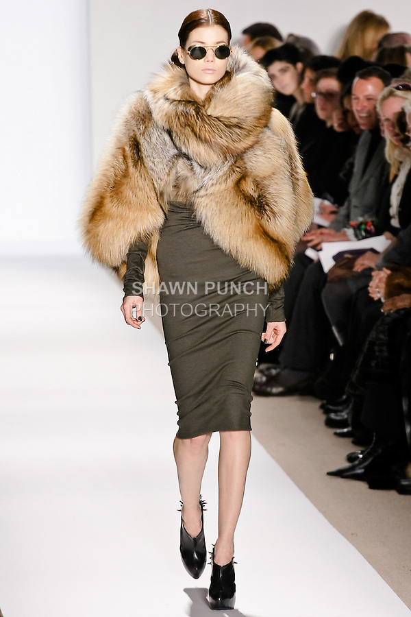 Sheila Marquez walks the runway in a natural smoky fox mini coccon, and khaki wool knit skirt and top, by Dennis Basso for his Dennis Basso Fall Winter 2010 collection fashion show, during Mercedes-Benz Fashion Week Fall 2010.