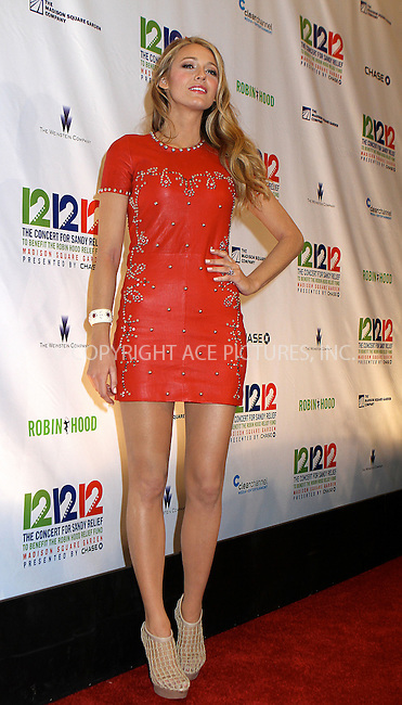 WWW.ACEPIXS.COM....December 12 2012, New York City....Blake Lively at the '12-12-12' concert benefiting The Robin Hood Relief Fund to aid the victims of Hurricane Sandy at Madison Square Garden on December 12, 2012 in New York City.........By Line: Nancy Rivera/ACE Pictures......ACE Pictures, Inc...tel: 646 769 0430..Email: info@acepixs.com..www.acepixs.com