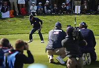 Justin Thomas (Team USA) sinks winning putt on the 17th during Saturday's Fourballs, at the Ryder Cup, Le Golf National, Île-de-France, France. 29/09/2018.<br /> Picture David Lloyd / Golffile.ie<br /> <br /> All photo usage must carry mandatory copyright credit (© Golffile | David Lloyd)