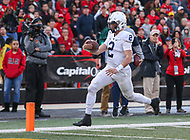 College Park, MD - November 25, 2017: Penn State Nittany Lions quarterback Tommy Stevens (2) scores a touchdonw during game between Penn St and Maryland at  Capital One Field at Maryland Stadium in College Park, MD.  (Photo by Elliott Brown/Media Images International)