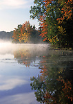 Fall foilage through the early morning mist on a lake in Wisconsin