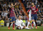 """Real Madrid's Portuguese forward Cristiano Ronaldo gestures during the """"El clasico"""" Spanish League football match Real Madrid vs Barcelona at the Santiago Bernabeu stadium in Madrid on March 23, 2014.   PHOTOCALL3000/ DP"""